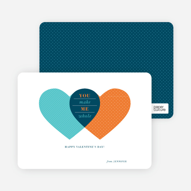 Heart Venn Diagram for Valentine's Day - Blue
