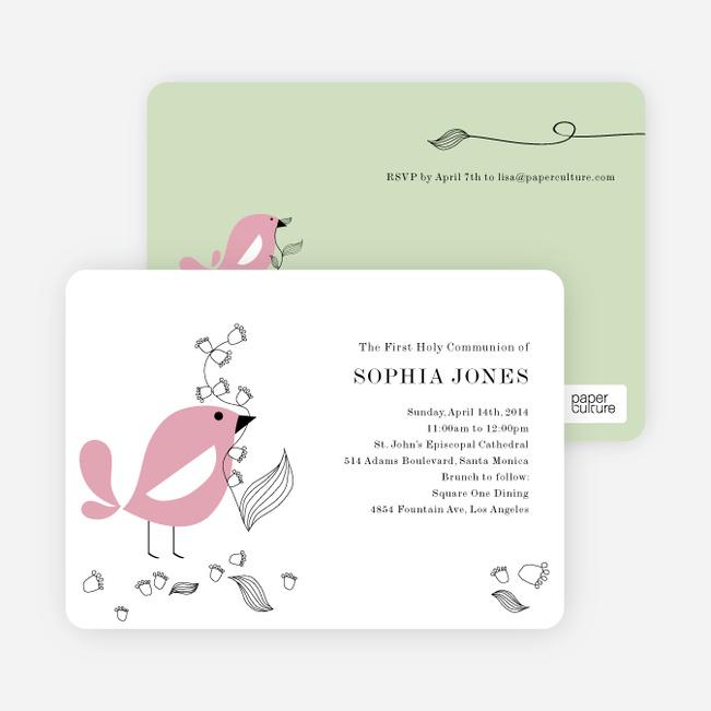Holy Communion Bird Invitations - Pink