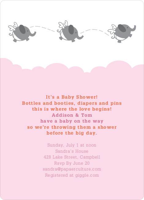 Flying Elephant Baby Shower Invites - Pink