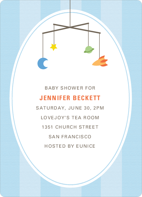 Astronaut and Space Traveler Baby Shower Invitations - Blue