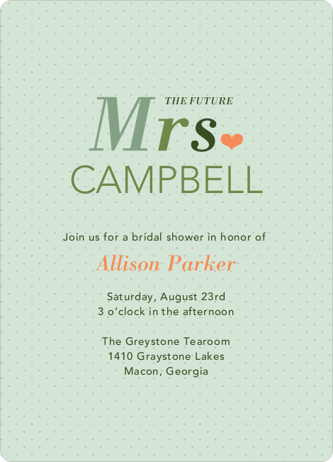 The Future Mrs. Bridal Shower Invitations - Green