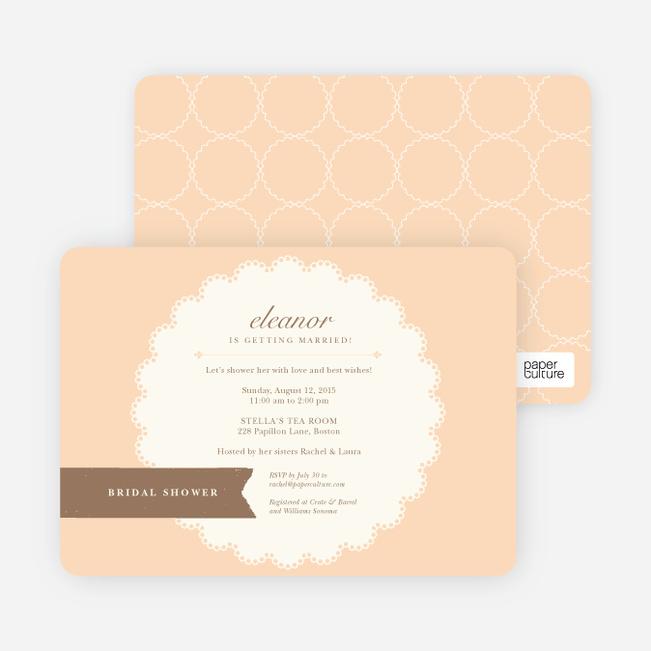 Lace Doily Bridal Sower Invitations - Orange