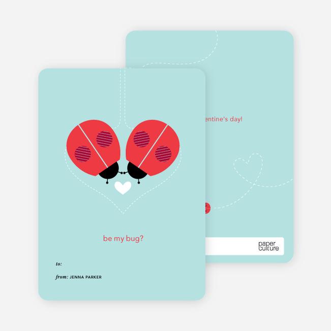 Ladybug Valentine's Day Cards - Blue