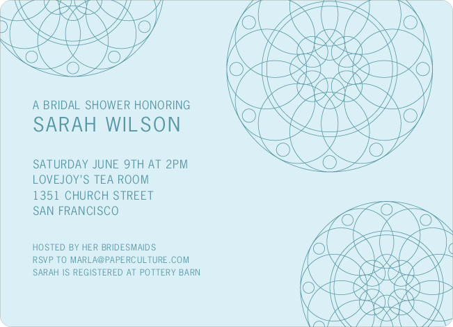 Floral Wedding Shower Invitations - Blue