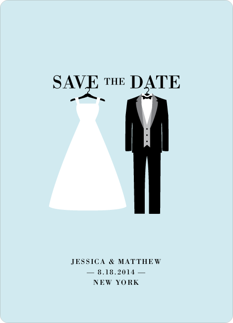 Wedding Dress and Tuxedo Save the Date Cards - Blue