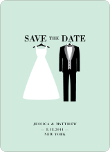 Wedding Dress and Tuxedo Save the Date Cards - Green