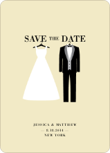 Wedding Dress and Tuxedo Save the Date Cards - Yellow