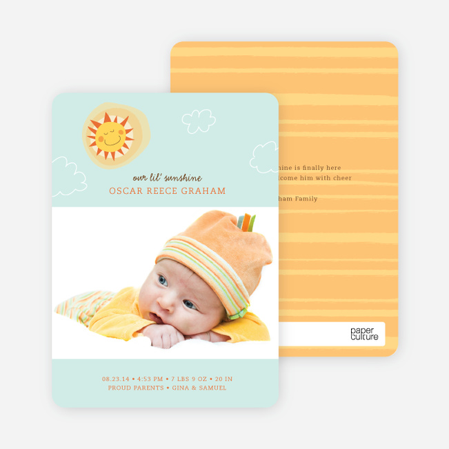 Little Miss Sunshine Photo Baby Announcements - Blue