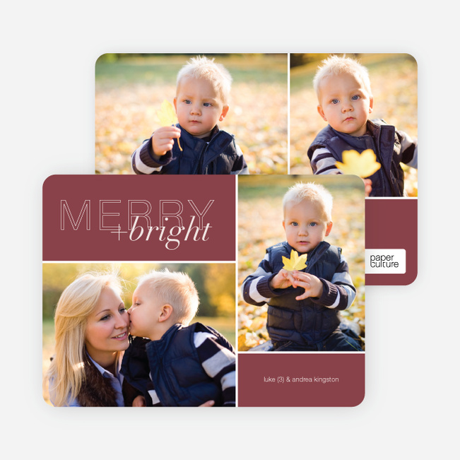 Modern Christmas Cards: Merry & Bright - Red