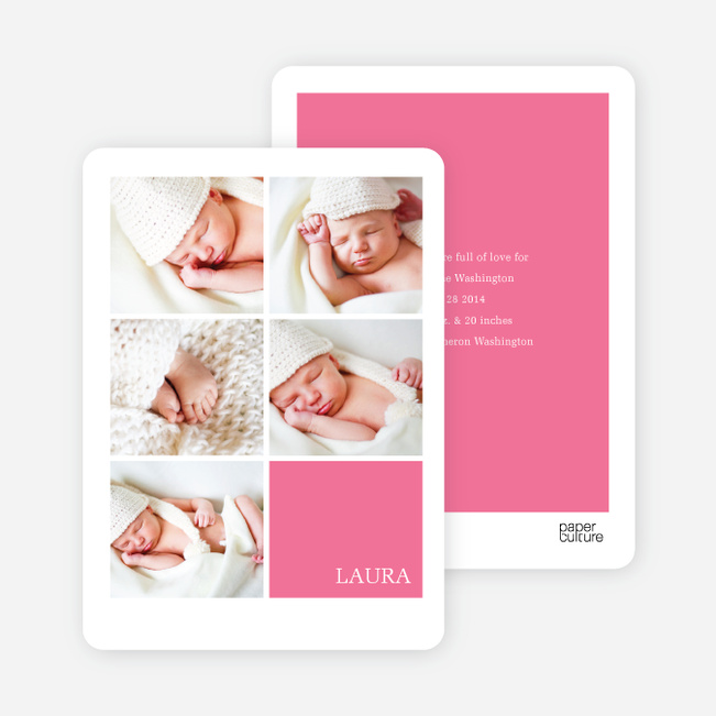 Modern Birth Announcements with Slots for 5 Photos - Pink