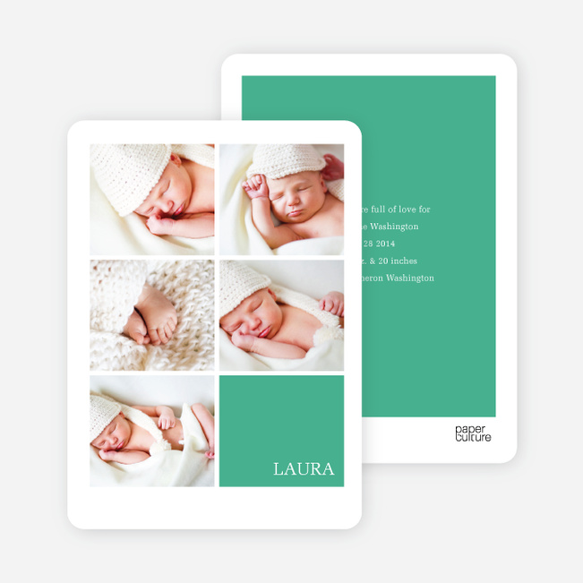 Modern Birth Announcements with Slots for 5 Photos - Green
