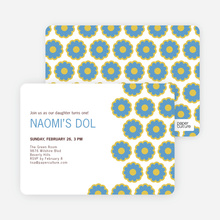 Modern Dol Flowers Invitations - Blue