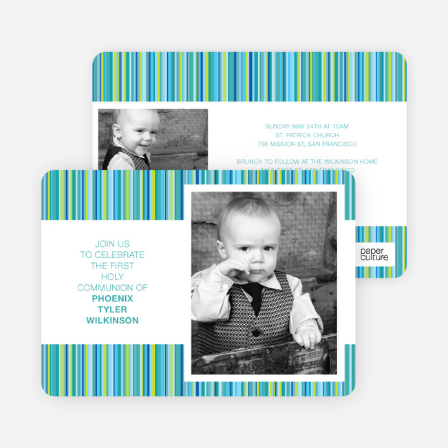 Modern, Photo Holy Communion Invitations - Blue
