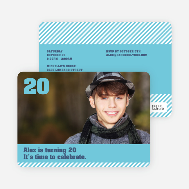 Modern Photo Party Invitations - Blue