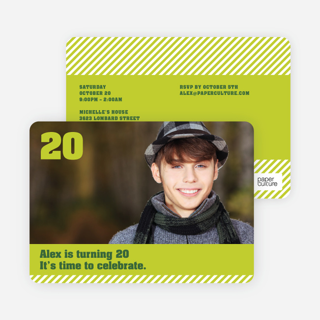 Modern Photo Party Invitations - Green