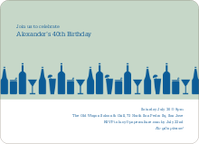 Top Shelf Liquor and Cocktails Birthday Party Invitations - Blue