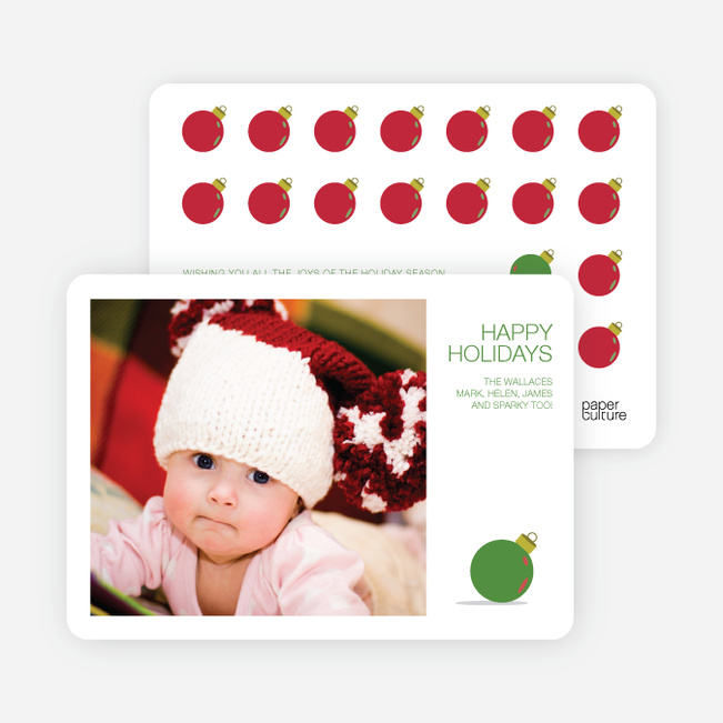 Ornaments in the Rough Holiday Photo Cards - Green