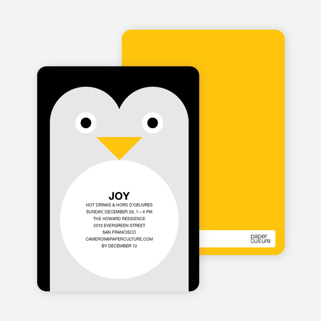 Penguin Party Invitations - Black