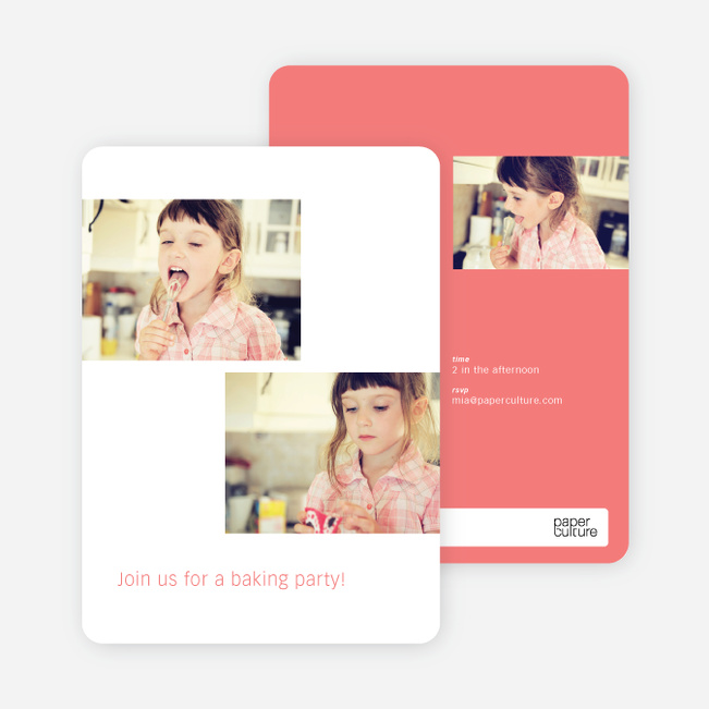 Photo Birthday Party Invitations - Pink