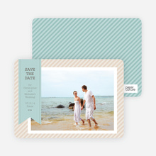 Photo Label Save the Date Cards - Blue