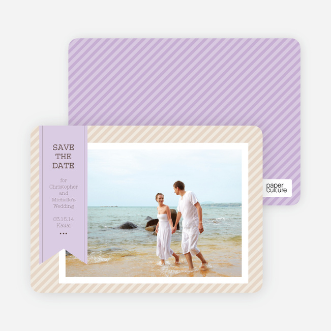 Photo Label Save the Date Cards - Purple