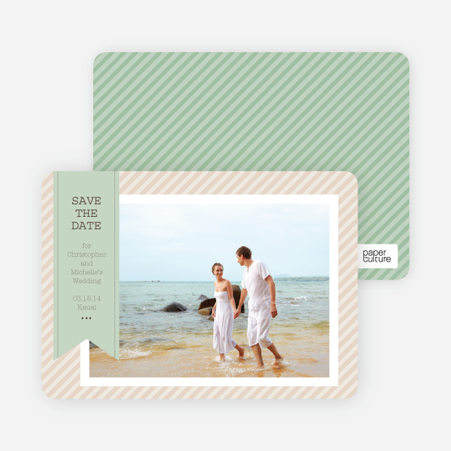 Photo Label Save the Date Cards - Green