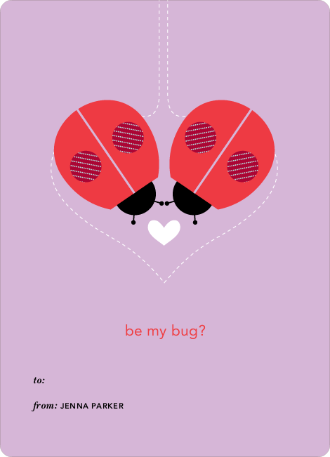 Ladybug Valentine's Day Cards - Purple