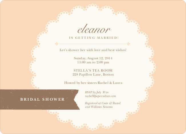 Lace Doily Bridal Sower Invitations - Orange