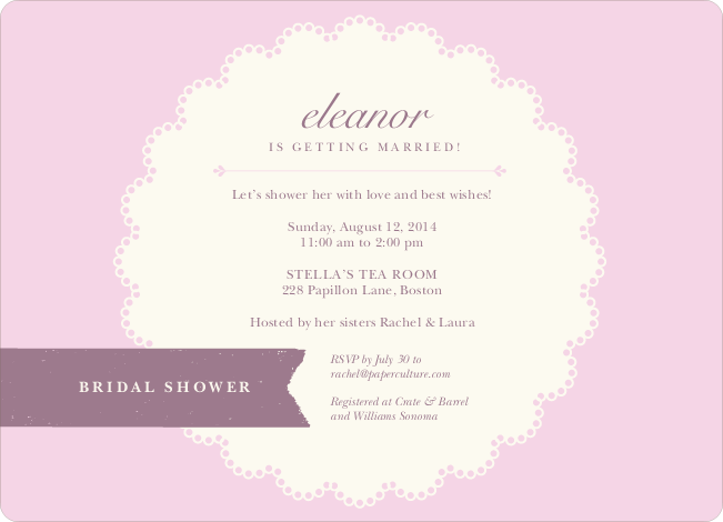 Lace Doily Bridal Sower Invitations - Pink