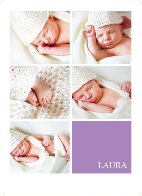 Modern Birth Announcements with Slots for 5 Photos - Purple