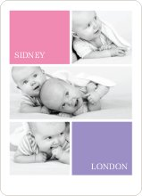 Twin Photos Birth Announcements - Pink