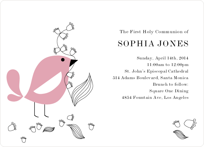 Holy Communion Bird Invitations - Pink