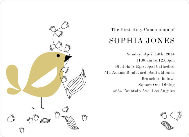Holy Communion Bird Invitations - Orange