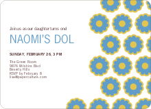 Modern Dol Flowers Invitations - Blue