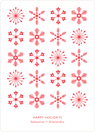 Snowflakes Galore Holiday Cards - Red