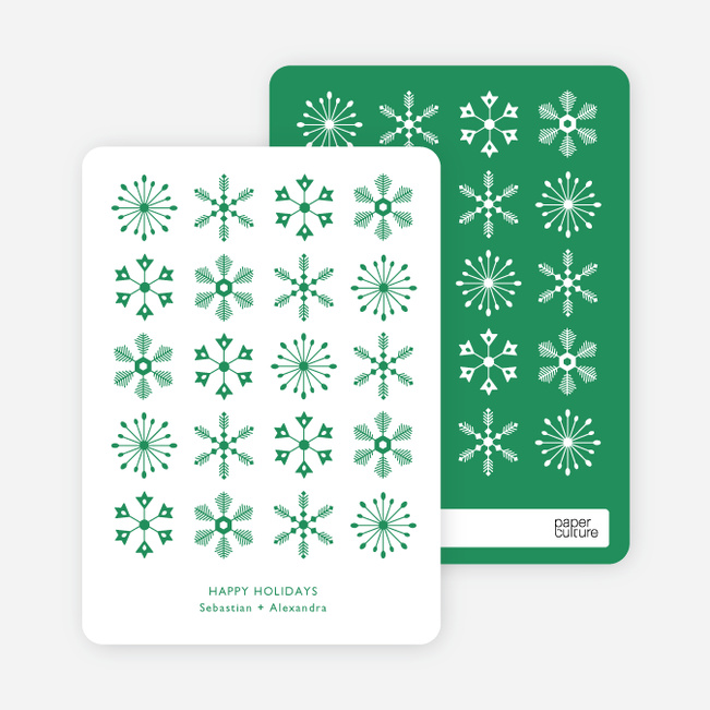 Snowflakes Galore Holiday Cards - Green