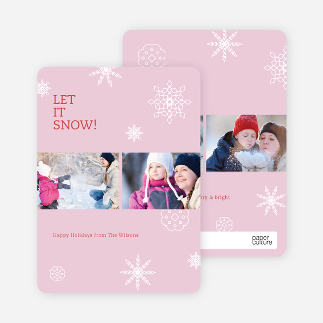 Snowflakes, Snowflakes Holiday Photo Cards - Red