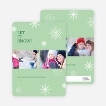 Snowflakes, Snowflakes Holiday Photo Cards - Green