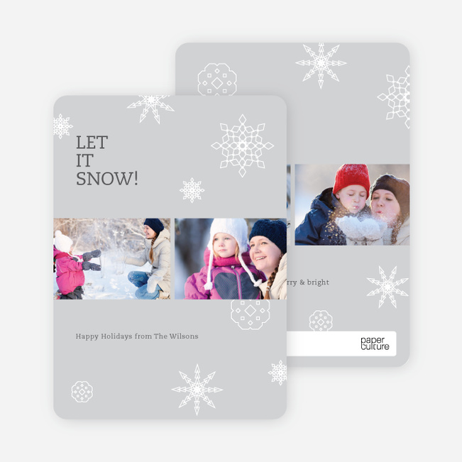 Snowflakes, Snowflakes Holiday Photo Cards - Gray