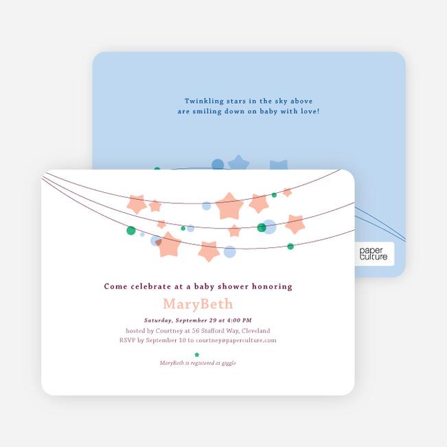 Star Crossed Baby Shower Invitations - Orange