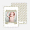 Stripes Frame Photo Birth Announcements - Beige