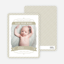 Stripes Frame Photo Birth Announcements - Beige