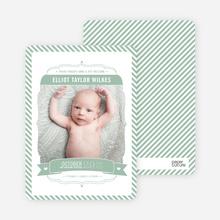 Stripes Frame Photo Birth Announcements - Green