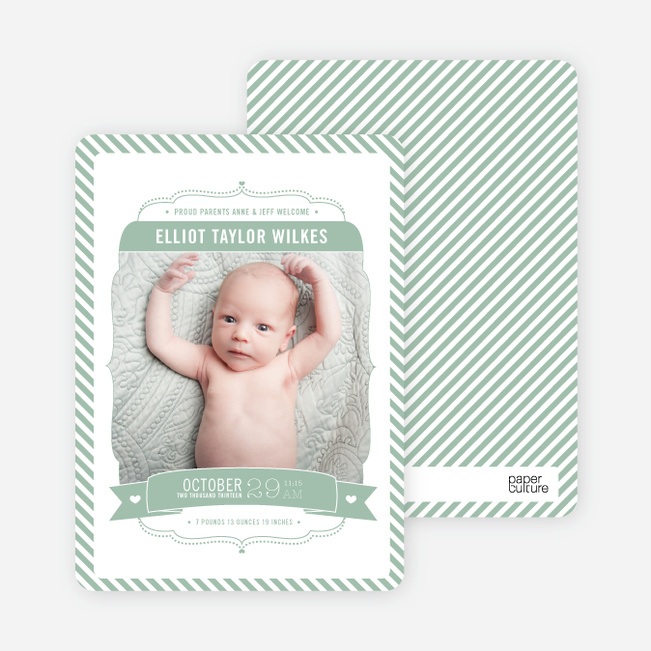 Photo Birth Announcements: Stripe Frame - Green