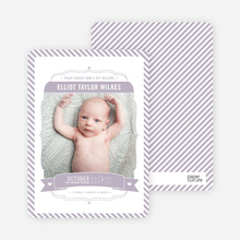 Stripes Frame Photo Birth Announcements - Purple