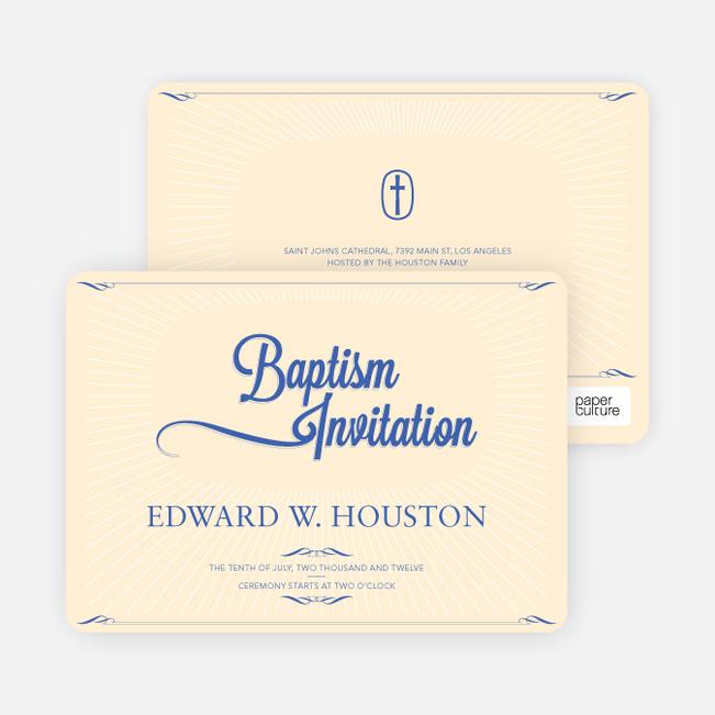 Sun Rays Baptism Invitations - Blue