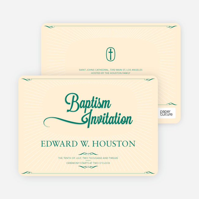 Sun Rays Baptism Invitations - Green
