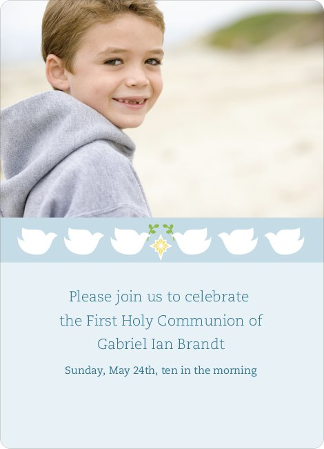 Doves as Messengers Communion Invitations - Blue