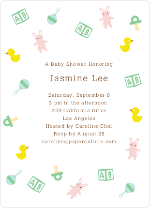 The Baby Classics Baby Shower Invitations: Bears, Ducks, Blocks, Pacifiers and Rattles - Brown
