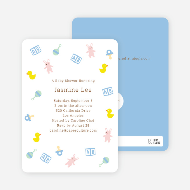 The Baby Classics Baby Shower Invitations: Bears, Ducks, Blocks, Pacifiers and Rattles - Blue